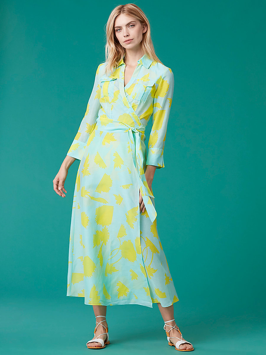 Collared Wrap Dress in Cardan Large Pool by DVF