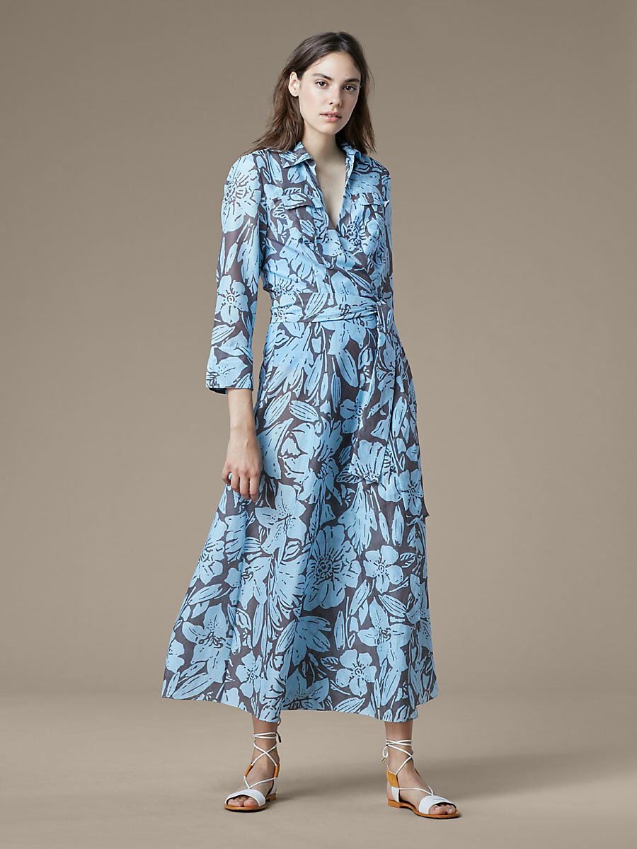 Collared Wrap Dress in Leclaire Powder by DVF
