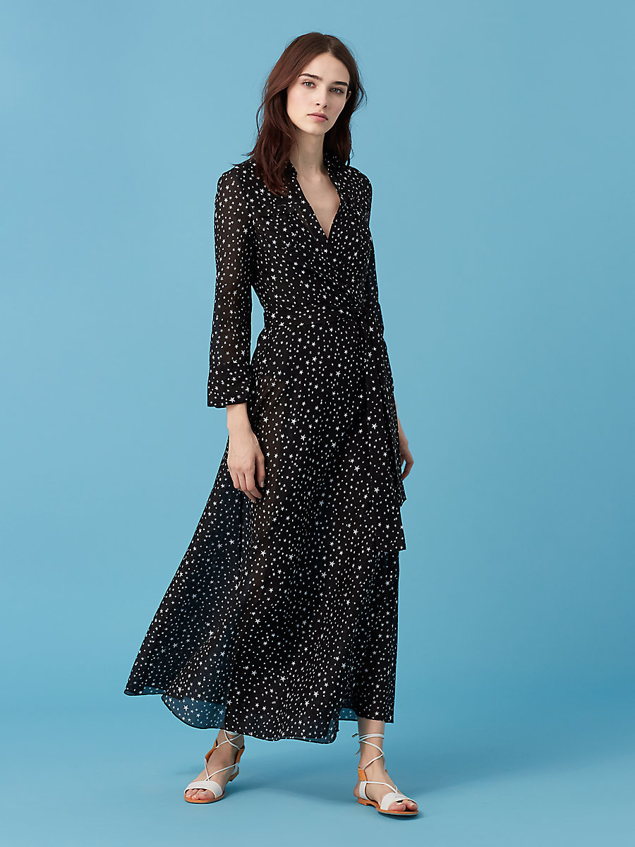 Collared Wrap Dress in Viete Black by DVF