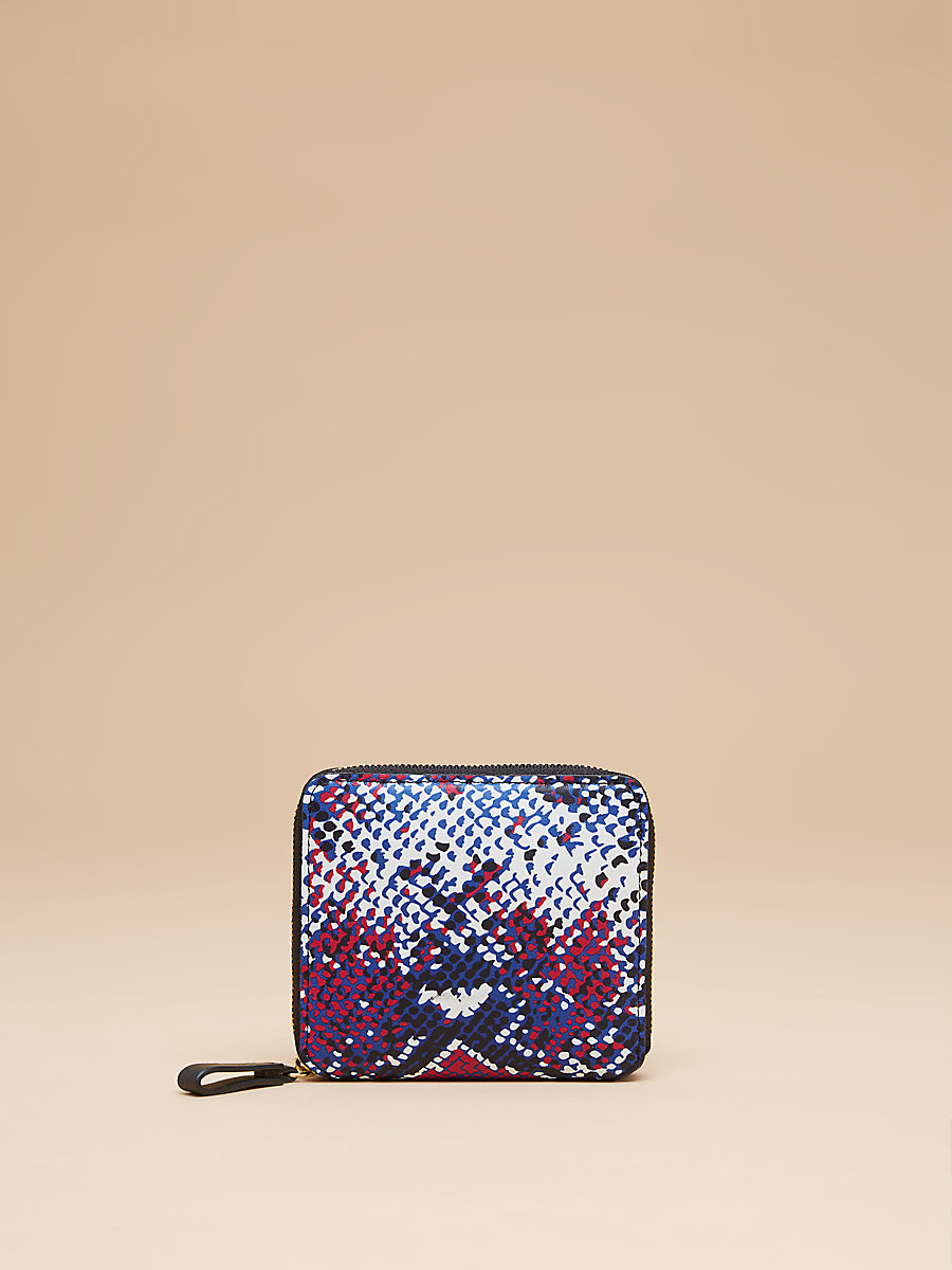 Small Printed Zip Around Wallet in Tissera French Blue by DVF