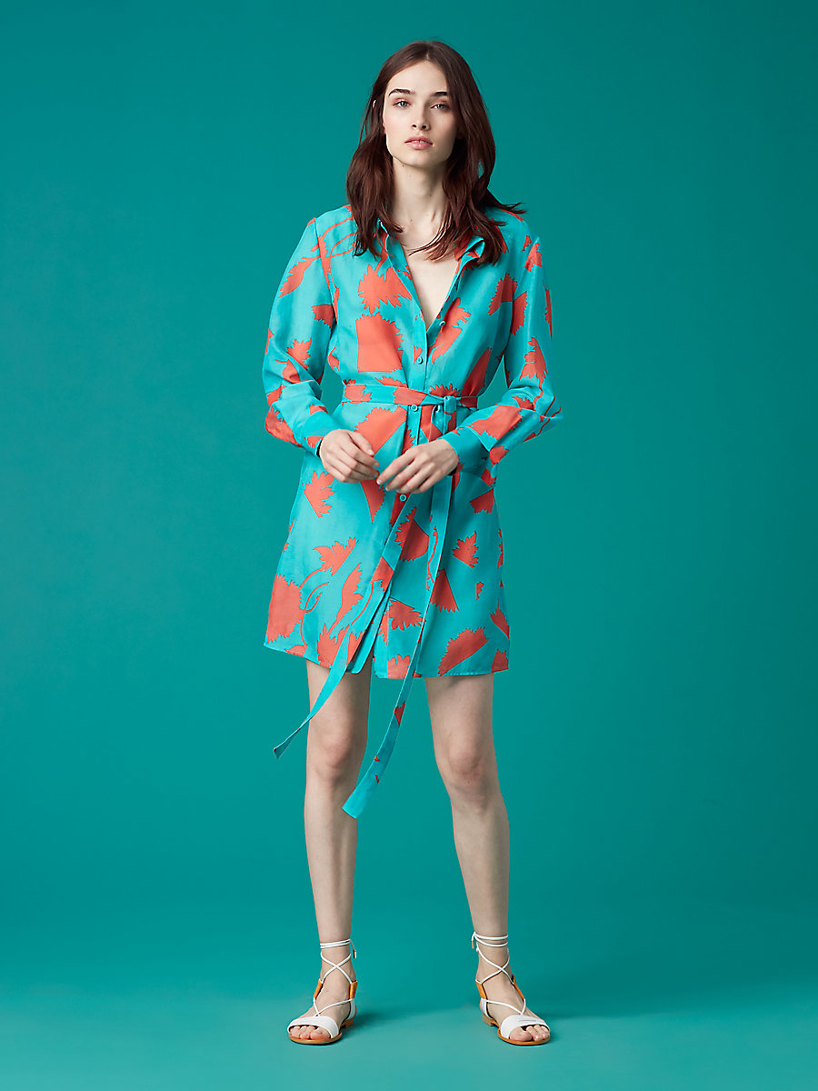 Mini Shirt Dress in Cardan Large Bright Aqua by DVF