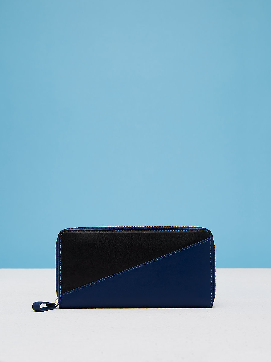 Slim Zip Continental Wallet in Marine Blue/ Black by DVF