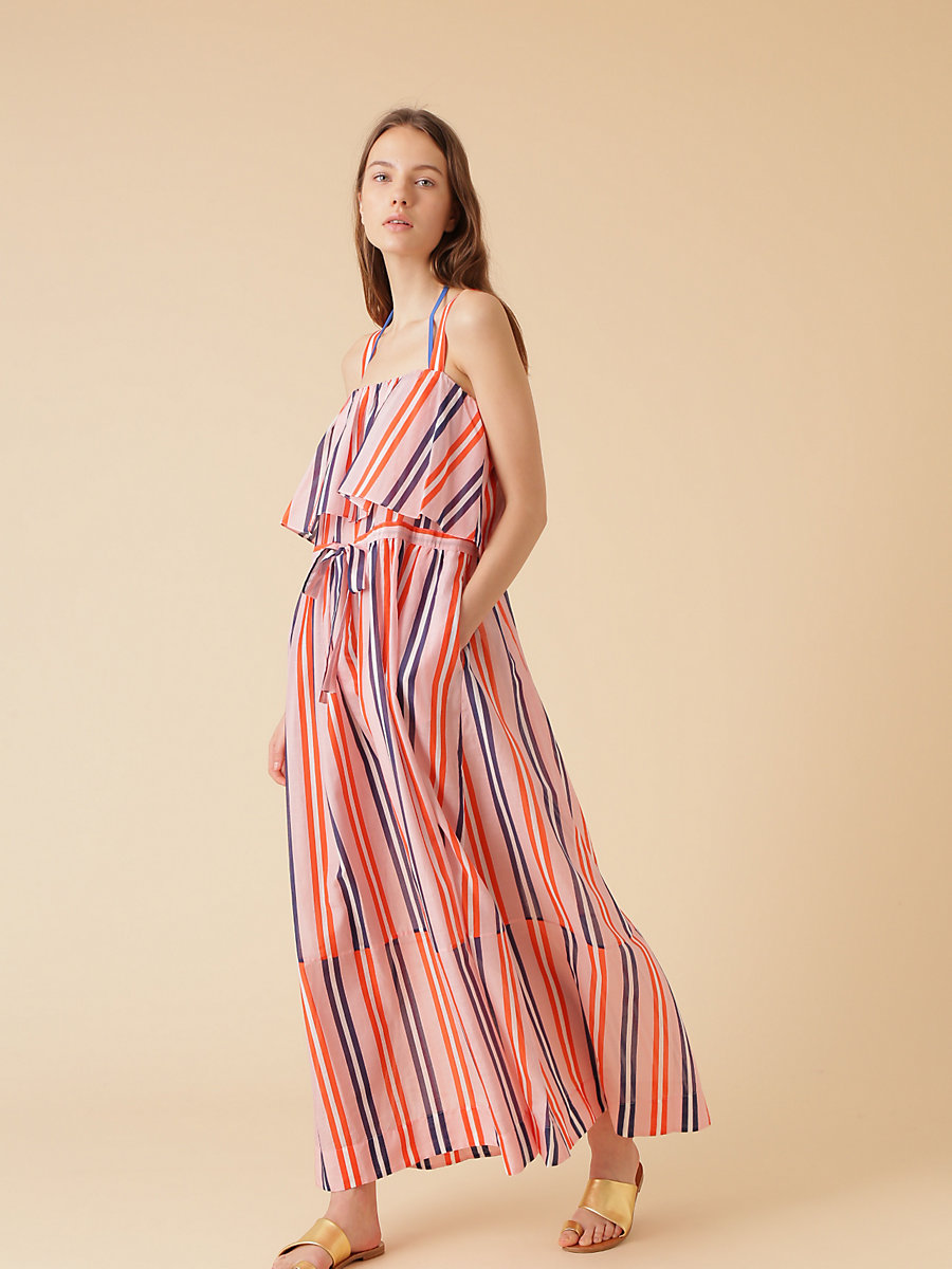 Two Tier Sleeveless Dress in Aikin Stripe Flame Red by DVF