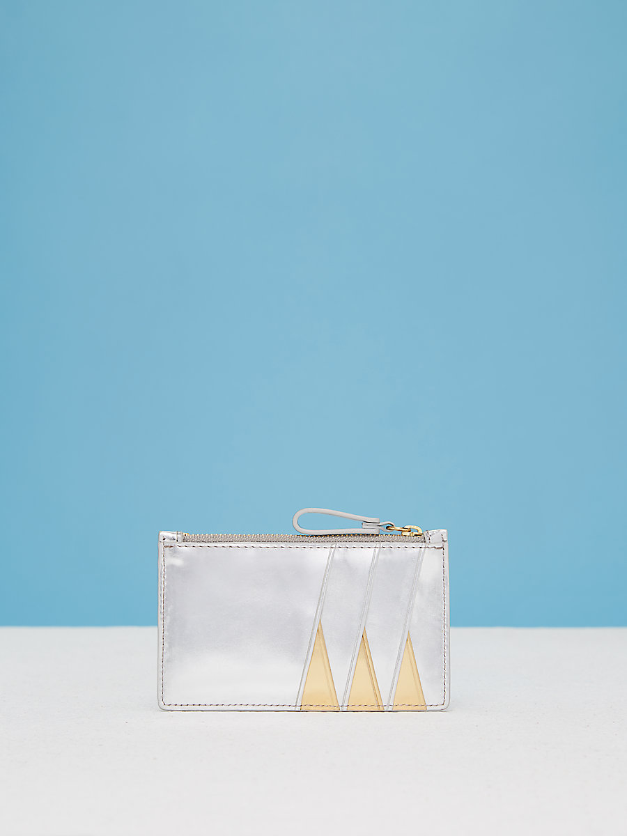 Zip Top Card Case in Silver/gold by DVF