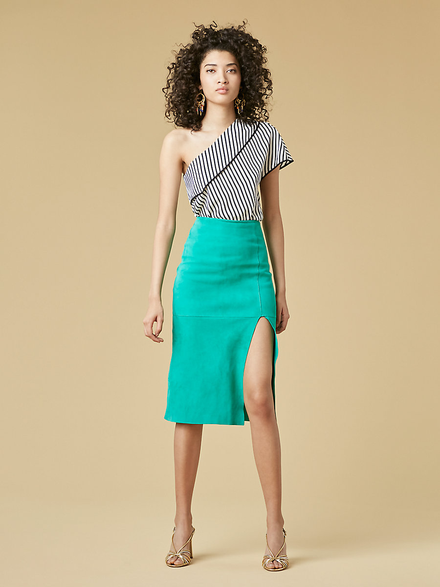 Suede Pencil Skirt in Jade by DVF