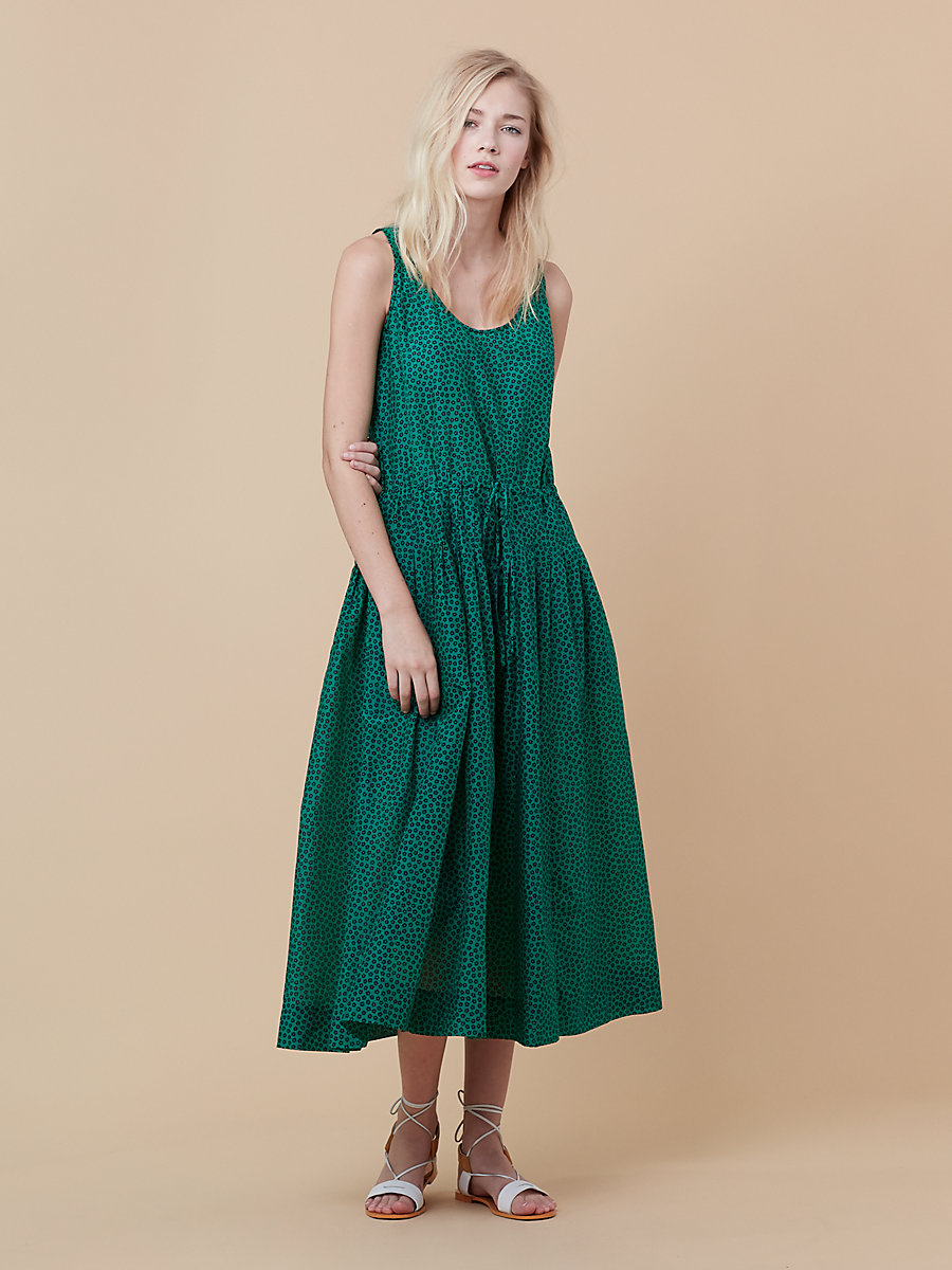 Drawstring Dress in Dalton Surf Green by DVF