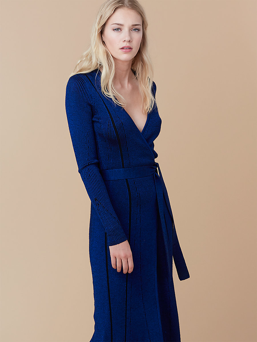 Ribbed Wrap Dress in French Blue/ Black by DVF