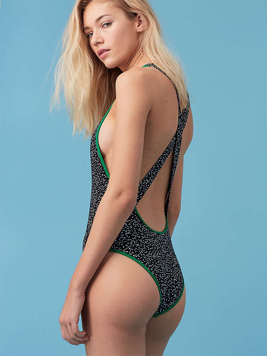 Deep V One Piece in Becket Black/ Surf Green by DVF