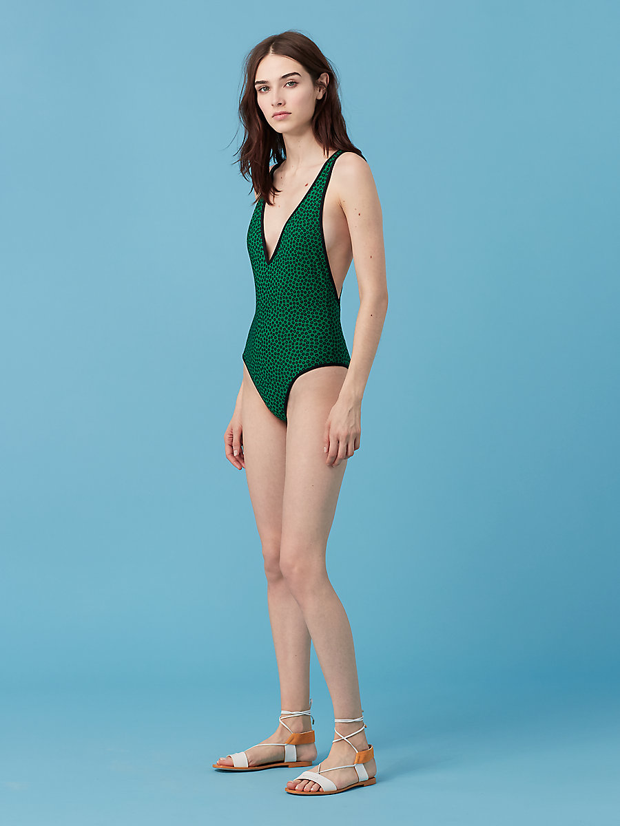 Deep V One Piece in Dalton Surf Green/ Black by DVF
