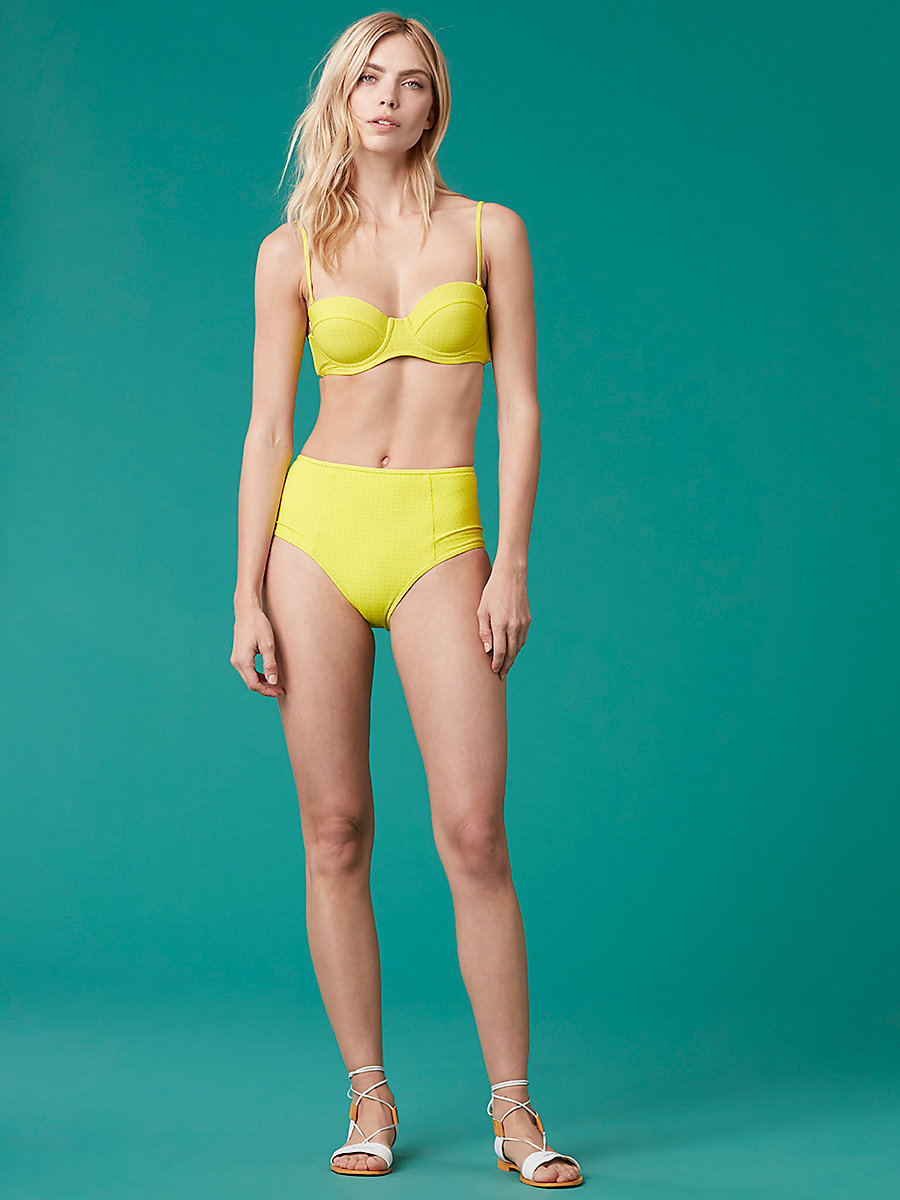 Constructed Bandeau Top in Ronsin Dot Acid Yellow by DVF