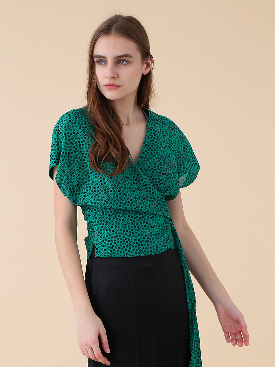 Wrap Top in Dalton Surf Green by DVF