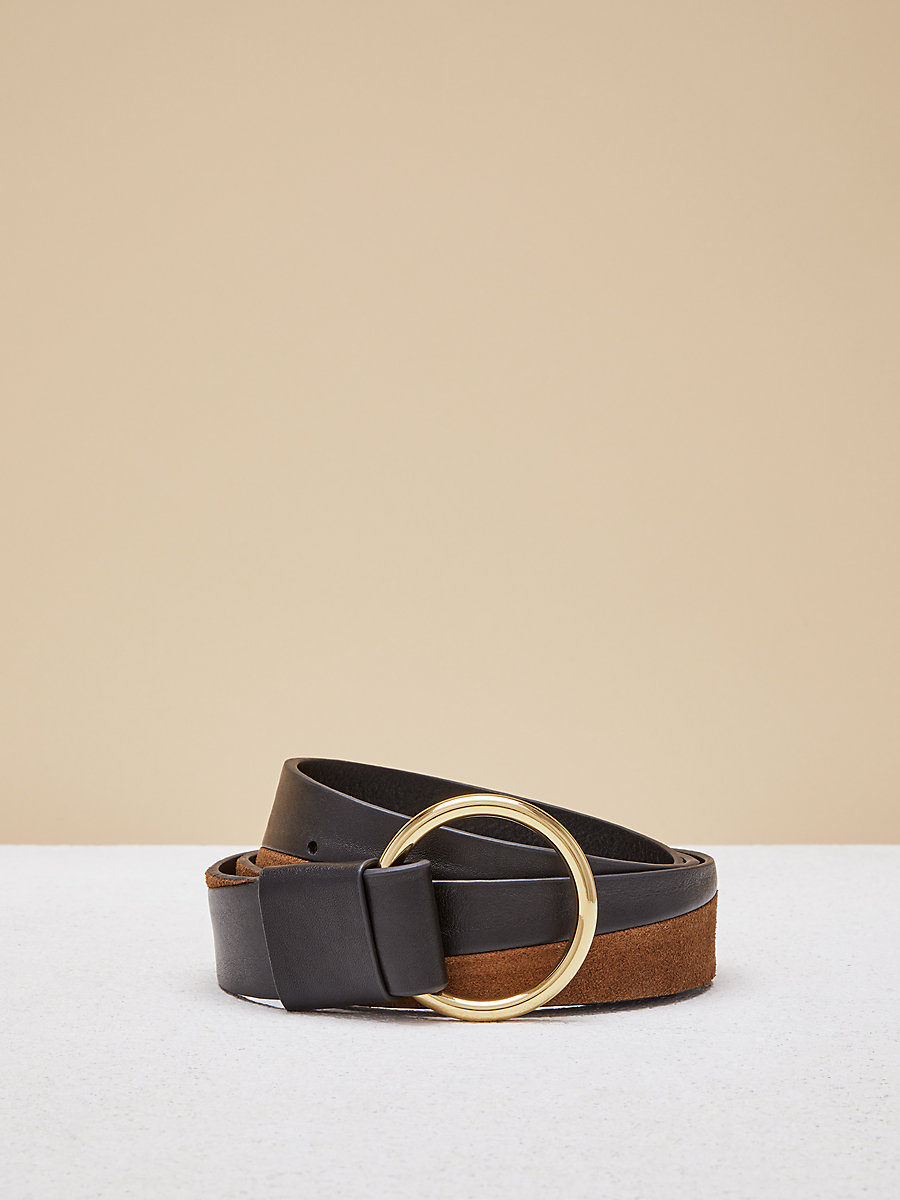 Origami O Ring Belt in Black/kola by DVF