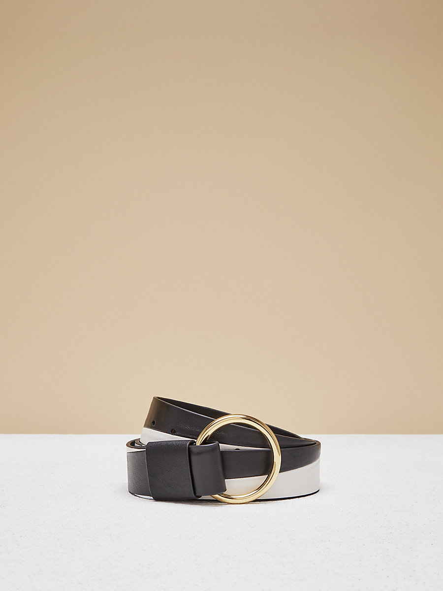 Origami O Ring Belt in Black/ White by DVF
