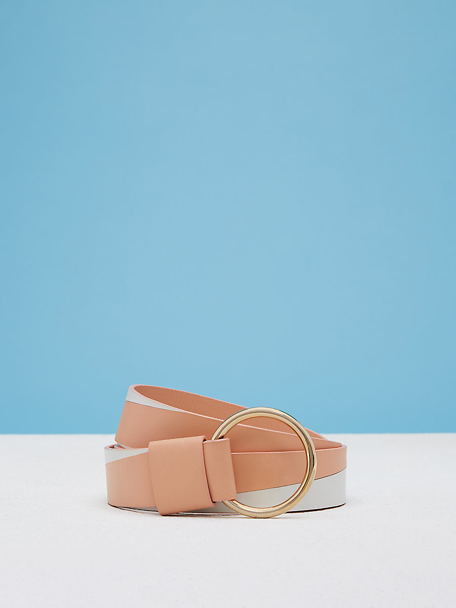 Origami O Ring Belt in Nectar/white by DVF
