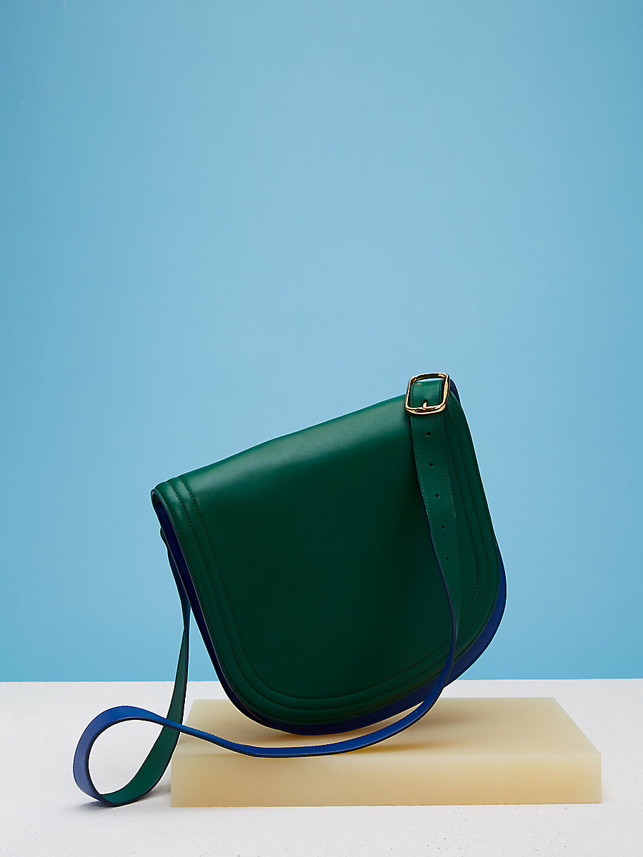 Saddle Shoulder Handbag in Forest Green/ Royal Blue by DVF