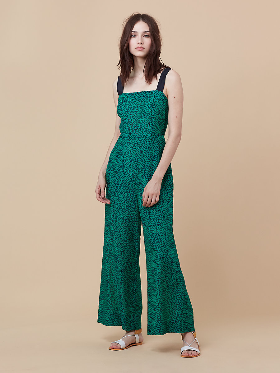 Beach Jumpsuit in Dalton Surf Green/ Black by DVF