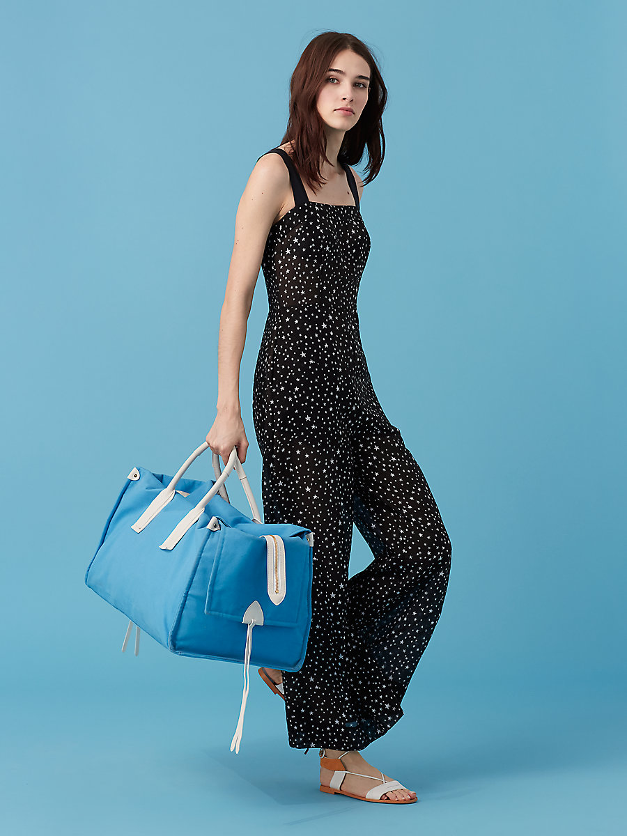 Beach Jumpsuit in Viete Black/ Black by DVF