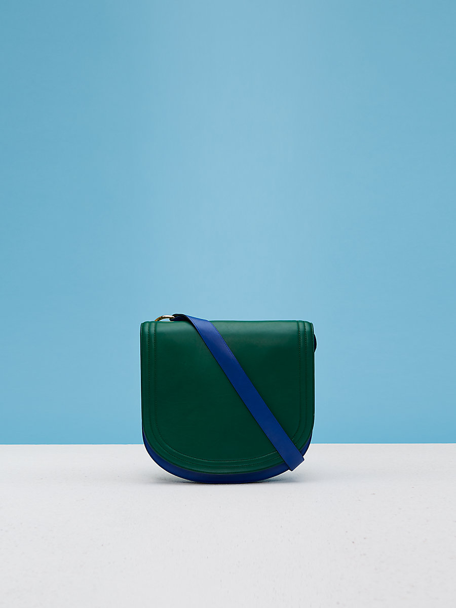 Small Saddle Shoulder Handbag in Forest Green/ Royal Blue by DVF