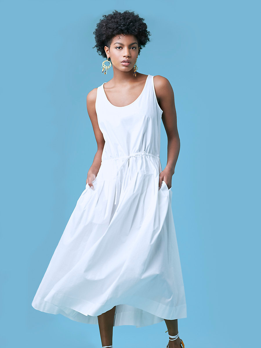 Poplin Drawstring Dress in White by DVF