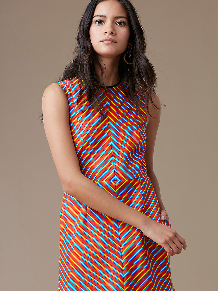 Sleeveless Tailored Shift Dress in Bodin Stripe Bright Red/black by DVF