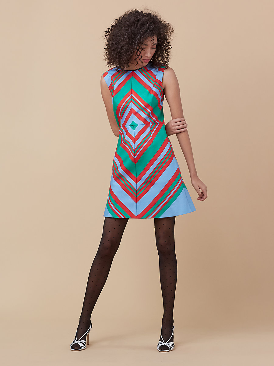 Sleeveless Tailored Shift Dress in Borel Stripe Jade by DVF