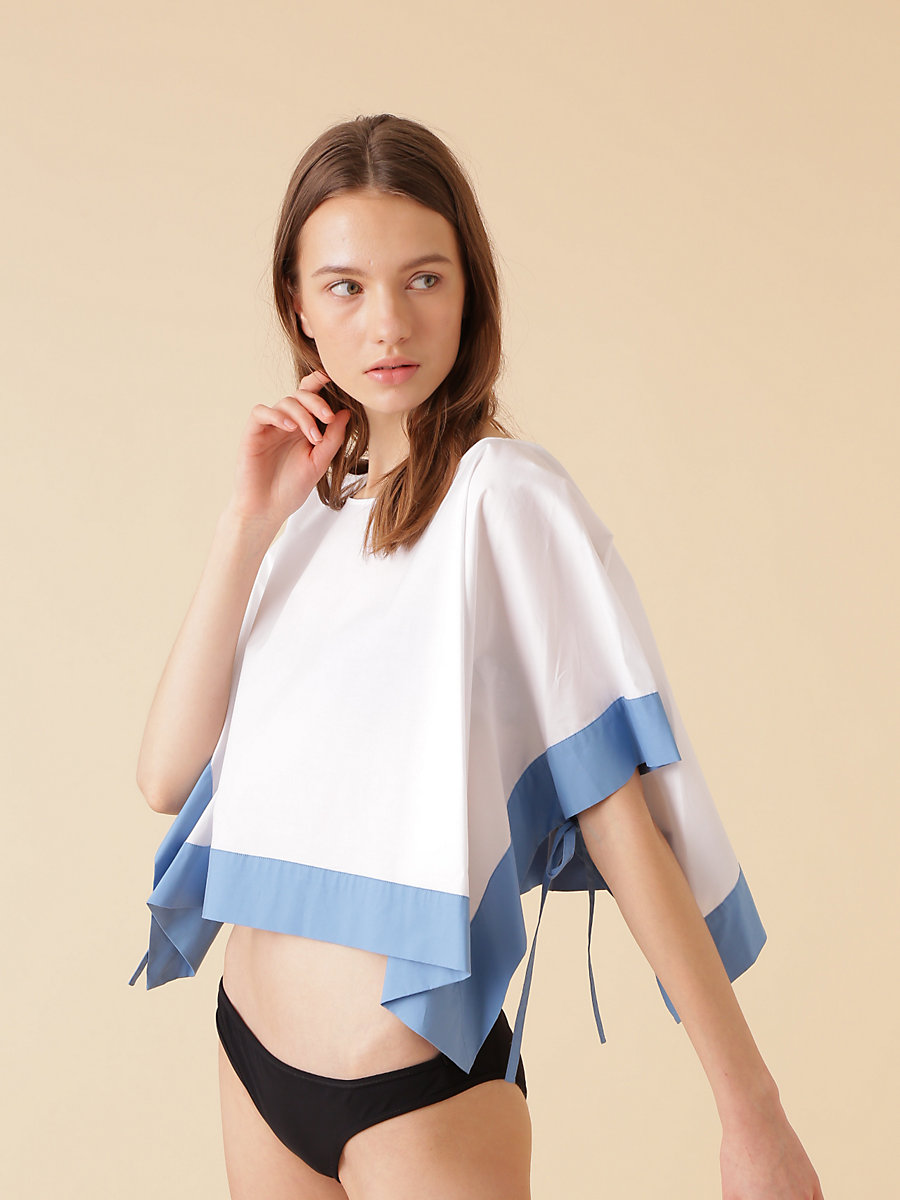 S/S T-shirt in White/blue Breeze by DVF