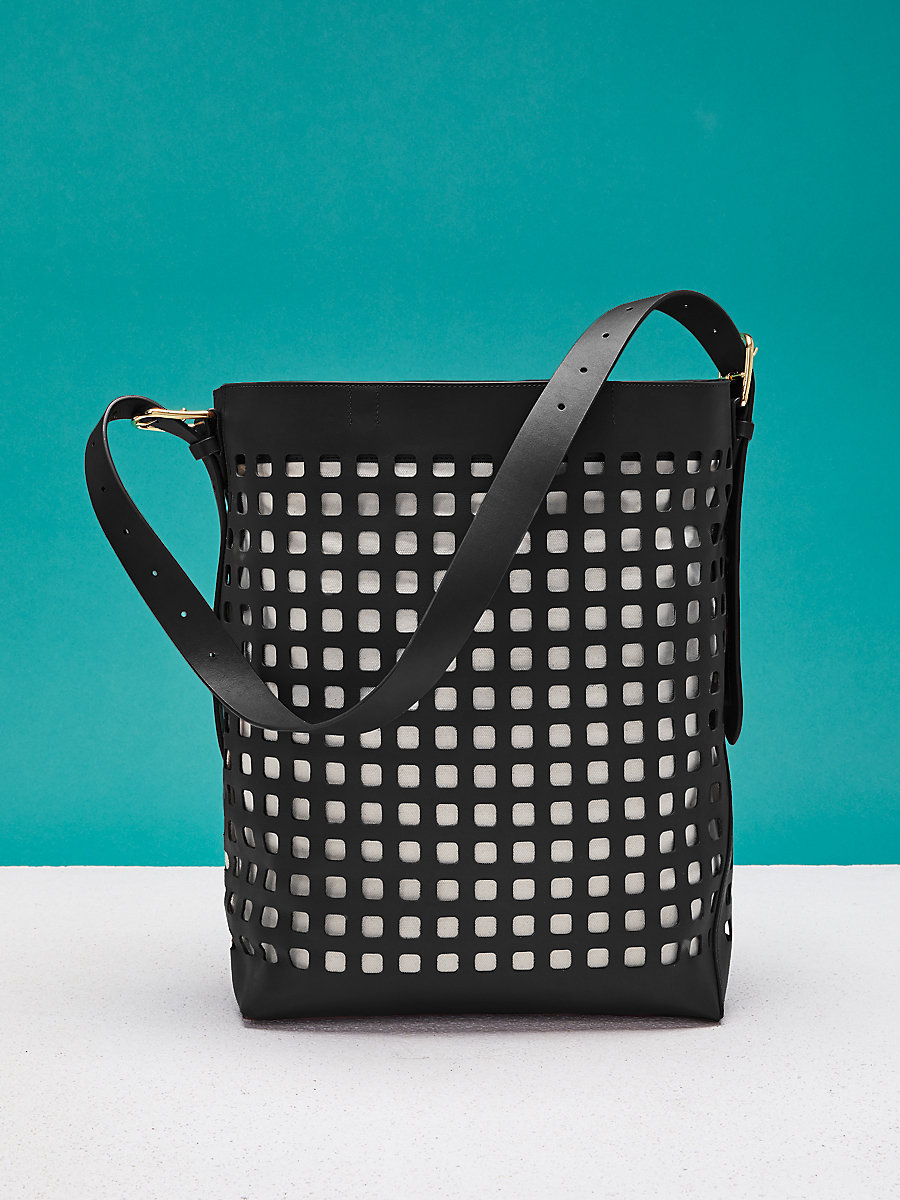 Perforated Origami Bucket Bag in Black by DVF