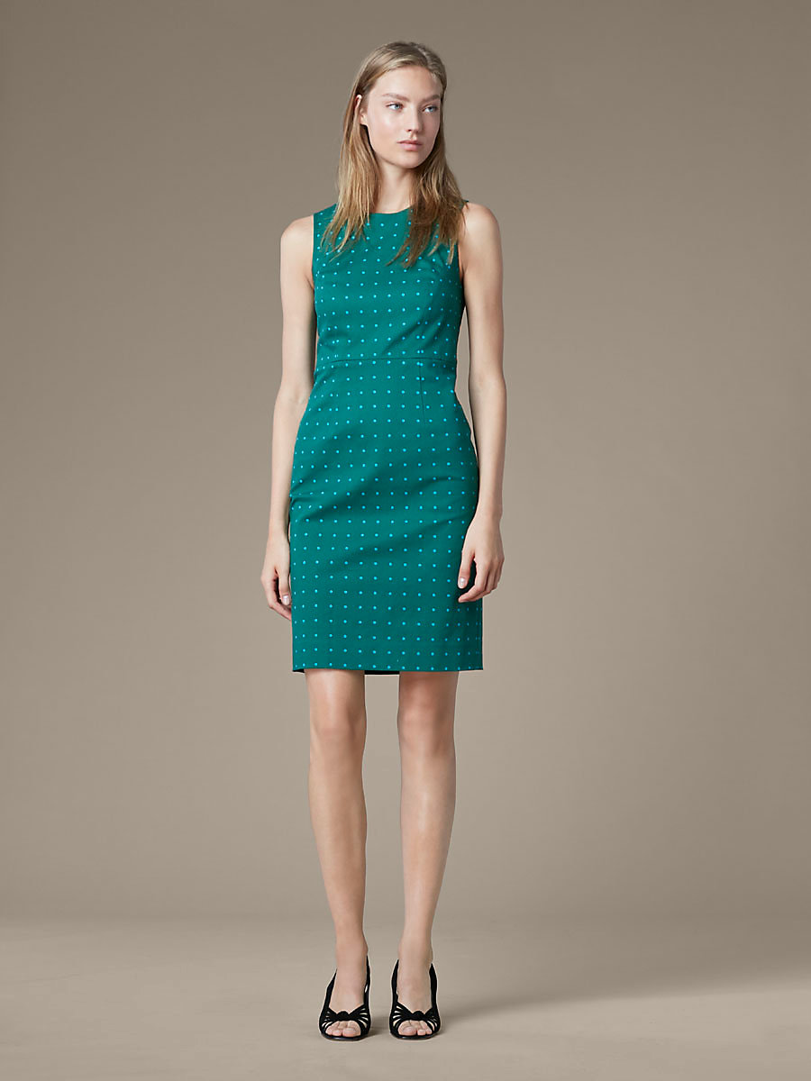 Sleeveless Tailored Dress in Arbor Dot Bottle Green by DVF