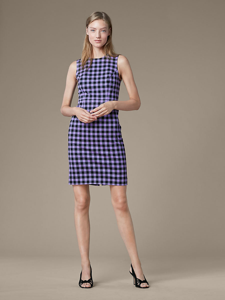 Sleeveless Tailored Dress in Cossier Large Violet by DVF