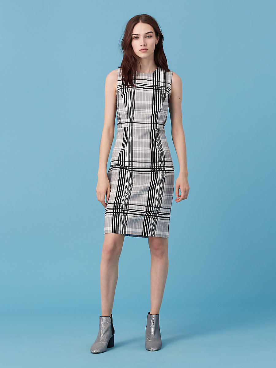 Sleeveless Tailored Dress in Darnley Black by DVF