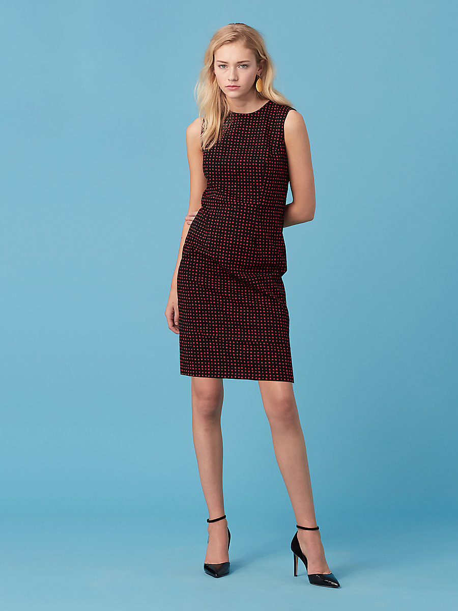 Sleeveless Tailored Dress in Ferma Dare Red by DVF