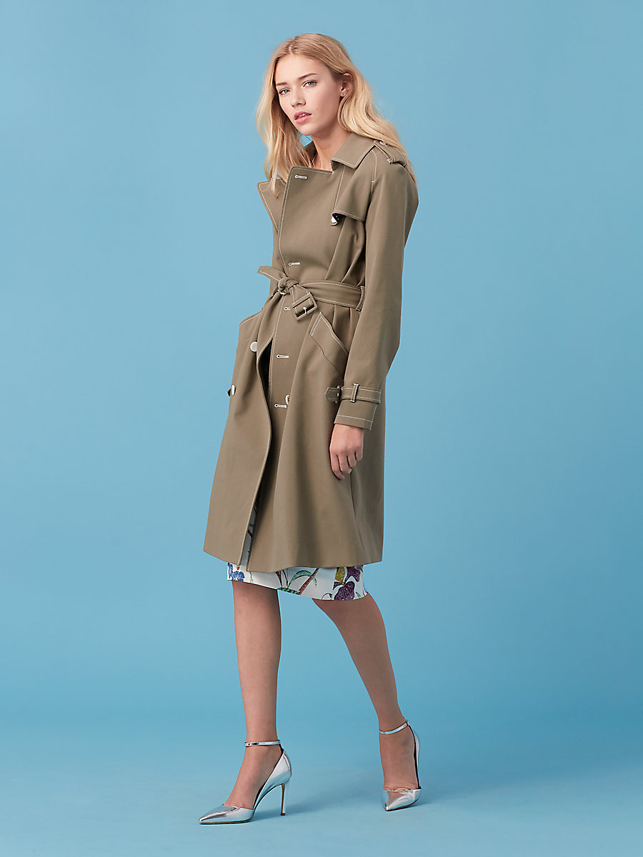 Stretch Trench in Khaki Green by DVF
