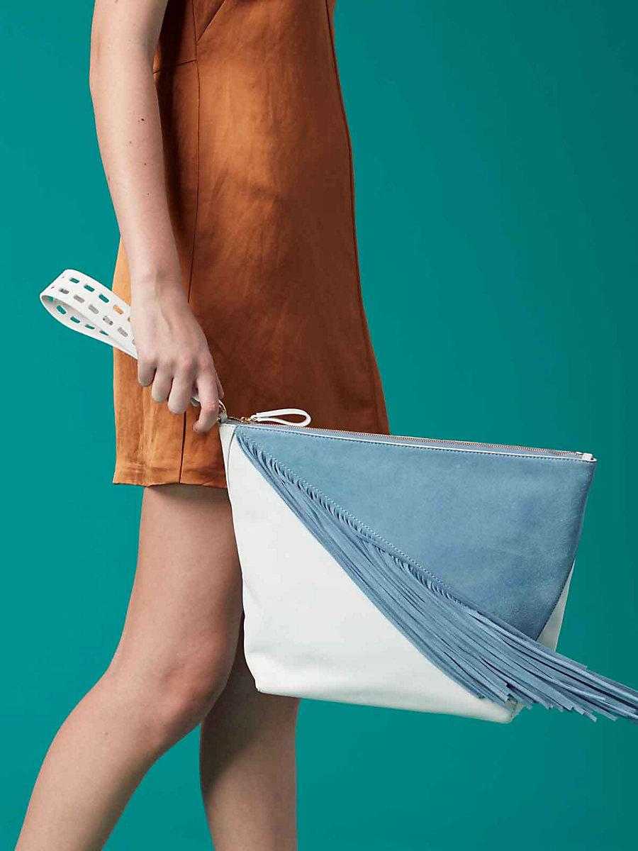 Origami Fringe Wristlet in Slate Blue/ Ivory by DVF
