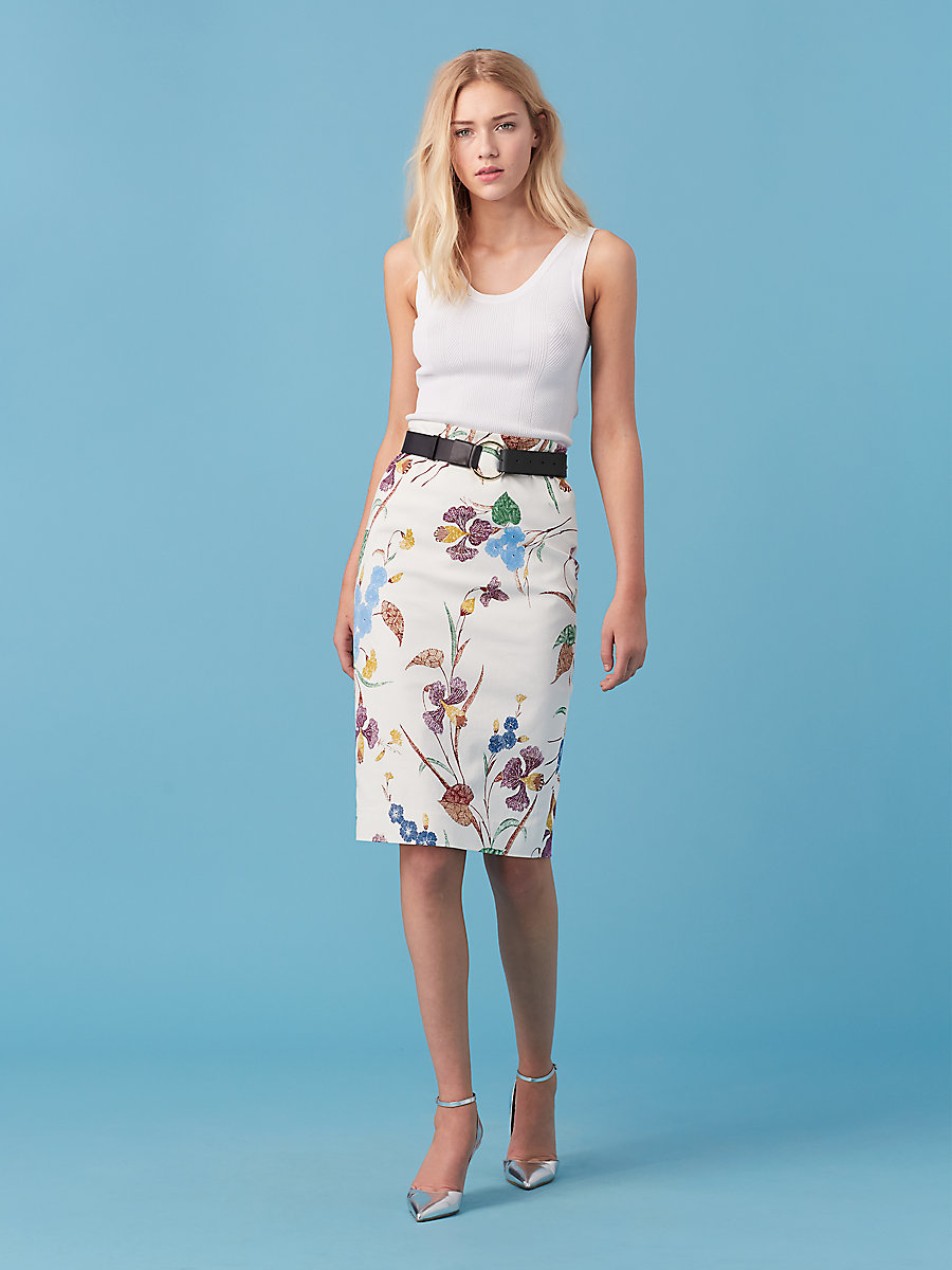 Twill Pencil Skirt in Ampere Ivory by DVF