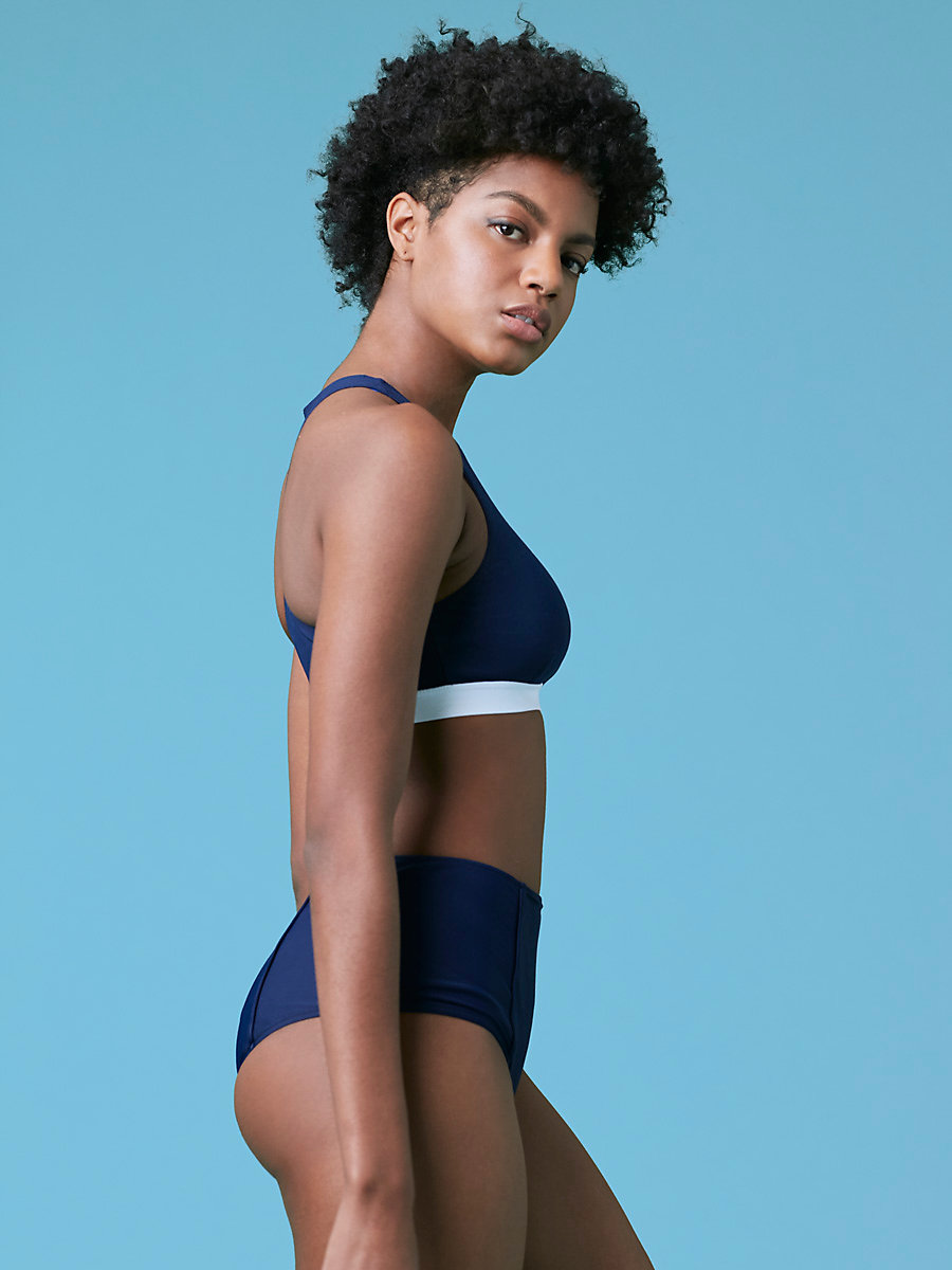 High-Waisted Bikini Bottom in Navy by DVF