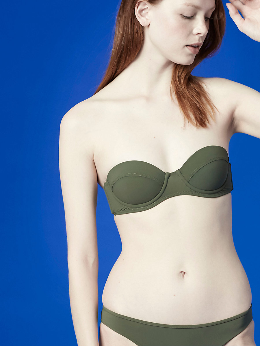 Constructed Bandeau Top in Camo by DVF
