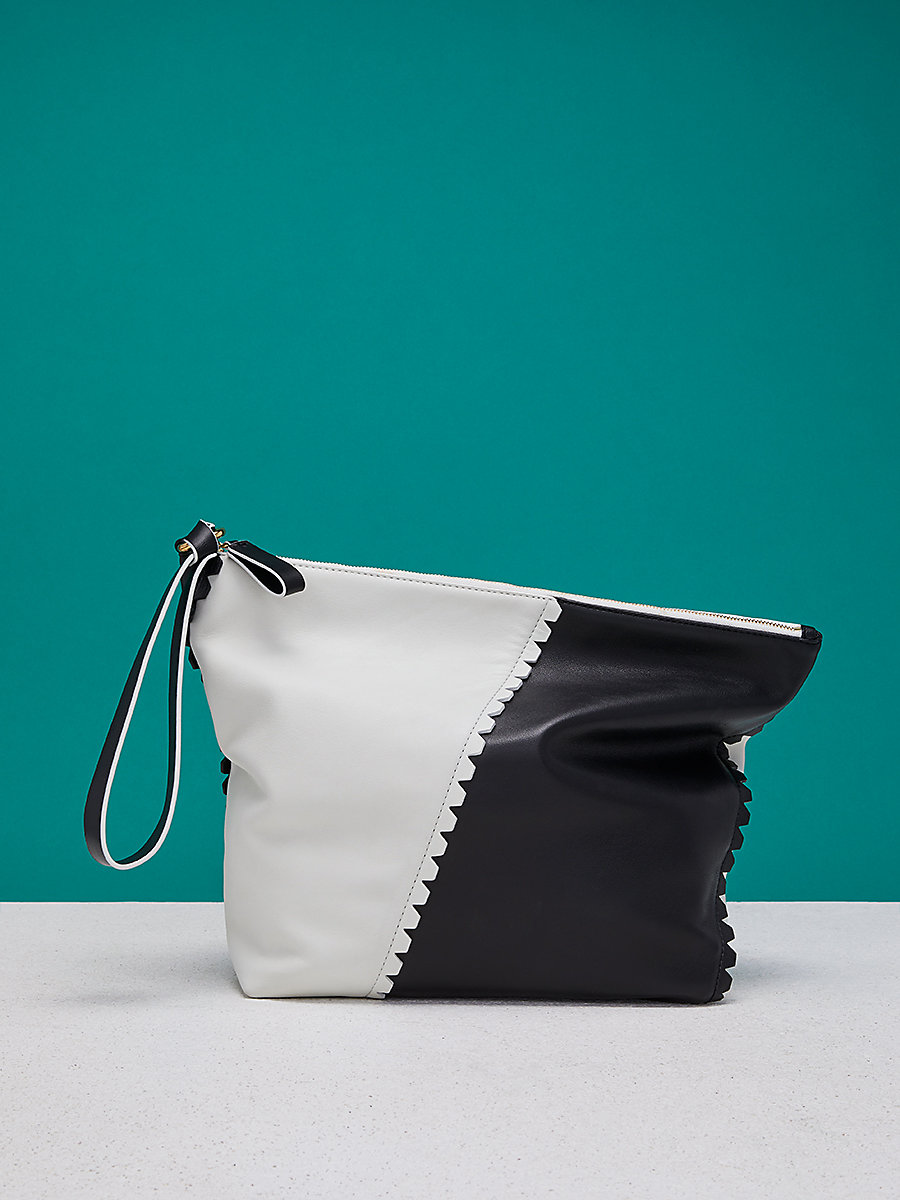Scalloped Origami Wristlet in Ivory/ Black by DVF