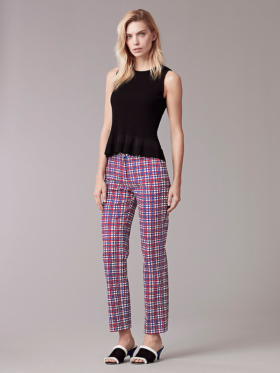 Narrow Tailored Pant in Abel Check Cerise by DVF
