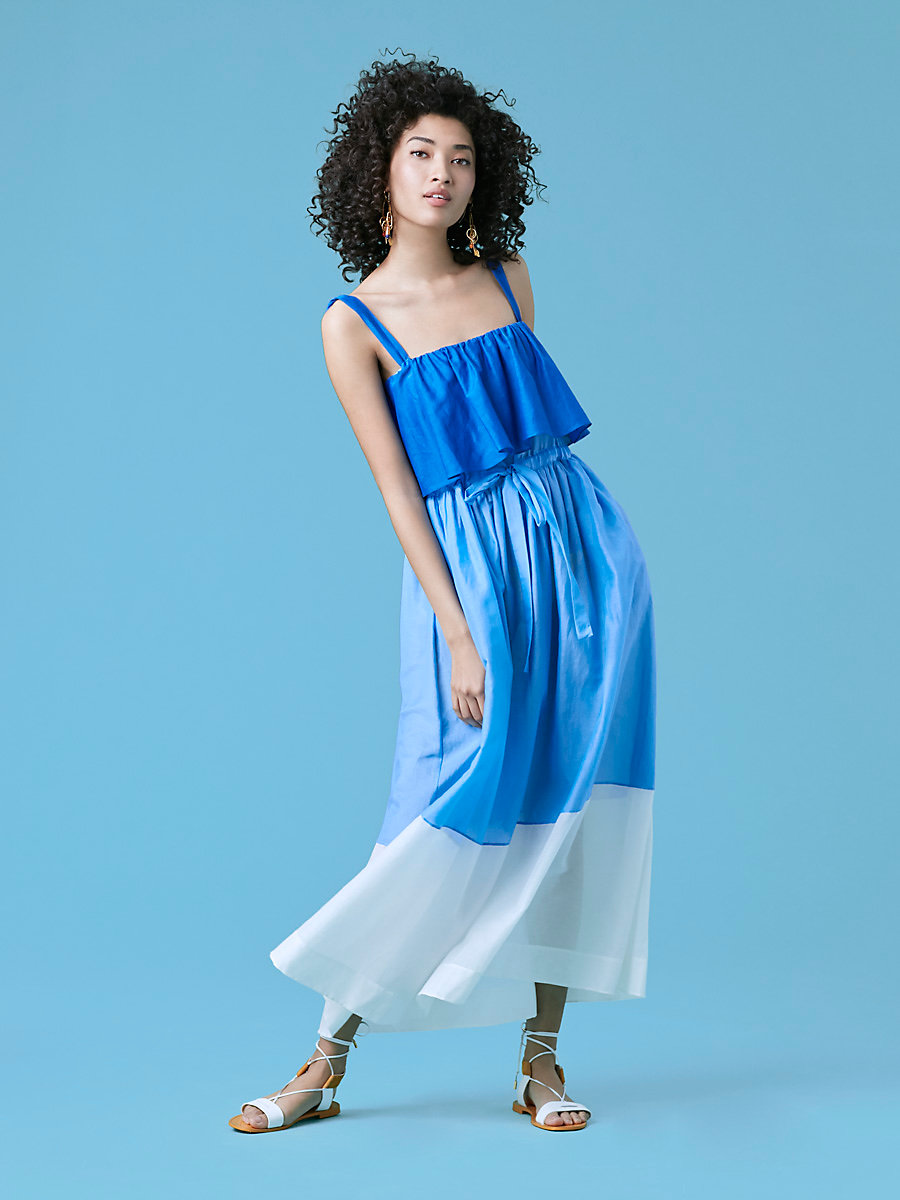Two Tier Sleeveless Dress in Ultramarine/ Blue Breeze by DVF