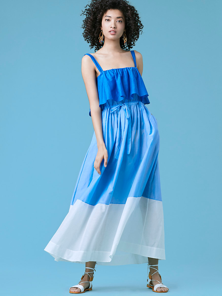 Two Tier Dress in Ultramarine/ Blue Breeze by DVF