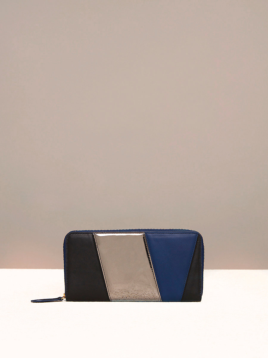 Multicolored Zip-Around Wallet in Black/ Anthracite by DVF