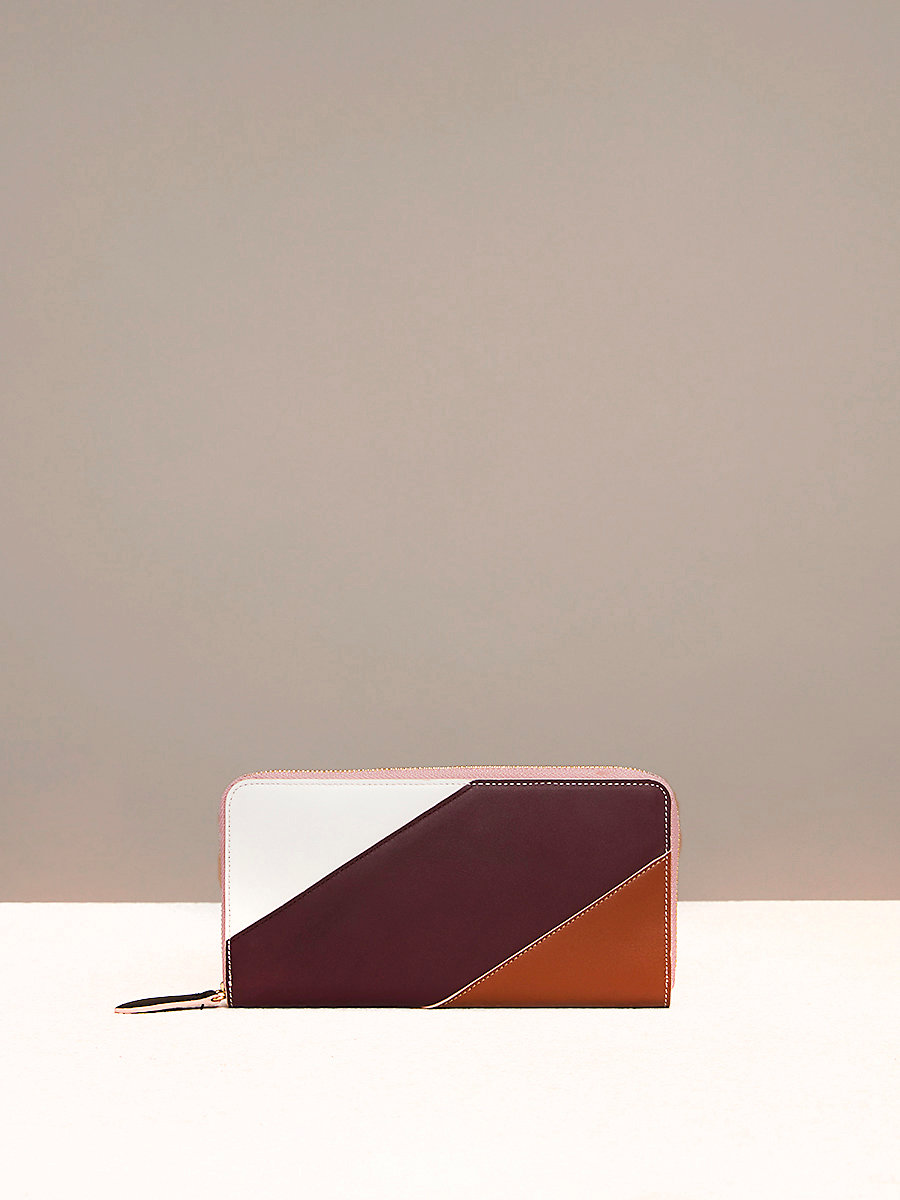 Multicolored Zip-Around Wallet in Ivory/ Bordeaux/ Kola by DVF