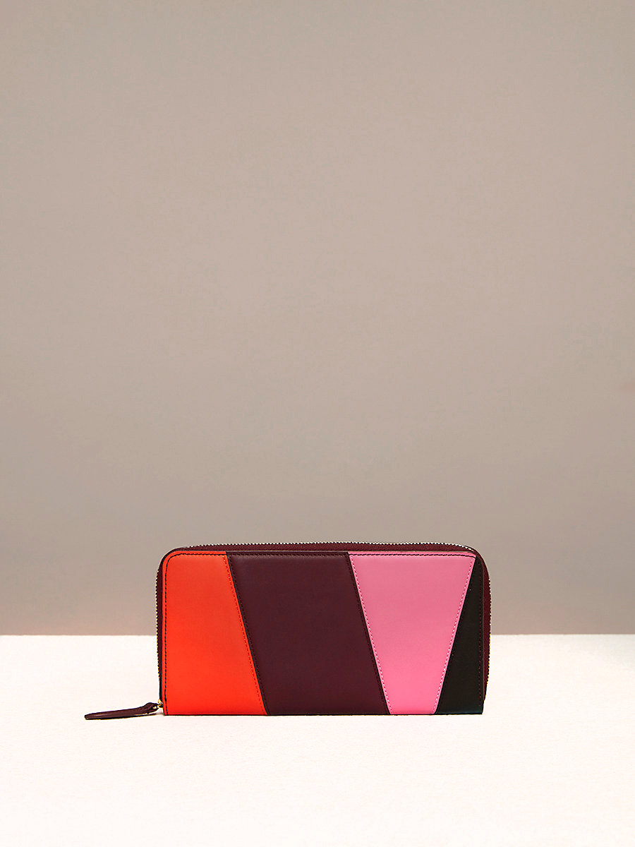 Zip-Around Wallet in Orange/ Bordeaux/ Pink Azalea by DVF