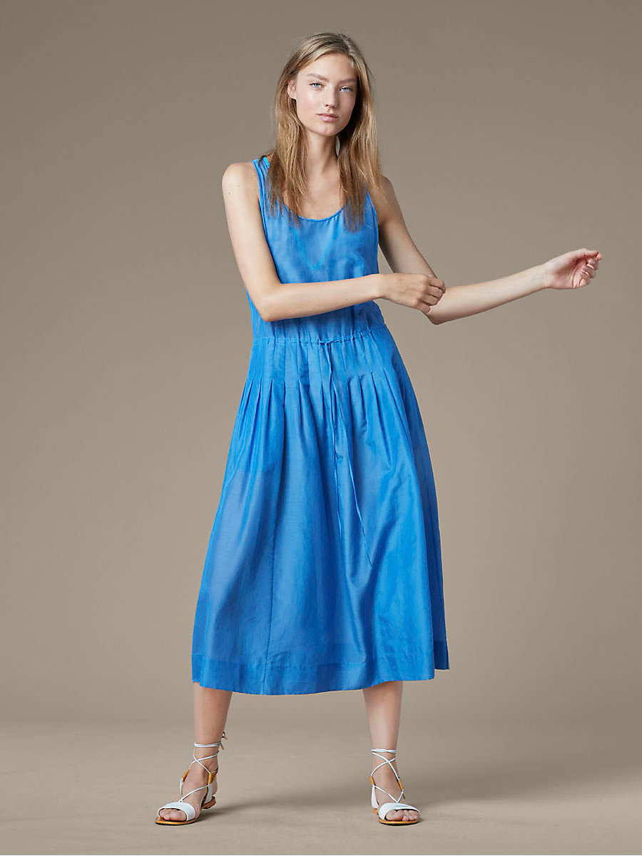 Drawstring Dress in Denim by DVF