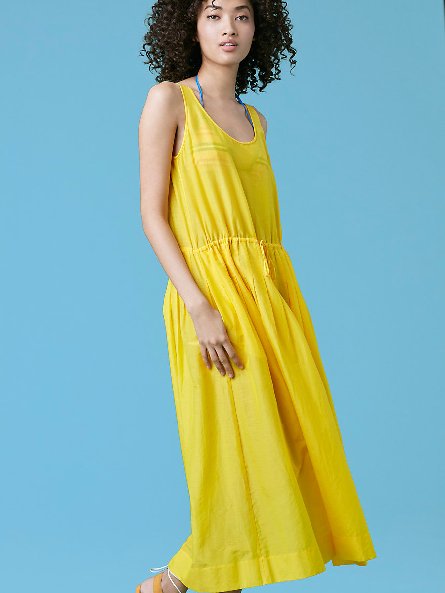 Sleeveless Drawstring Dress in Sun Yellow by DVF