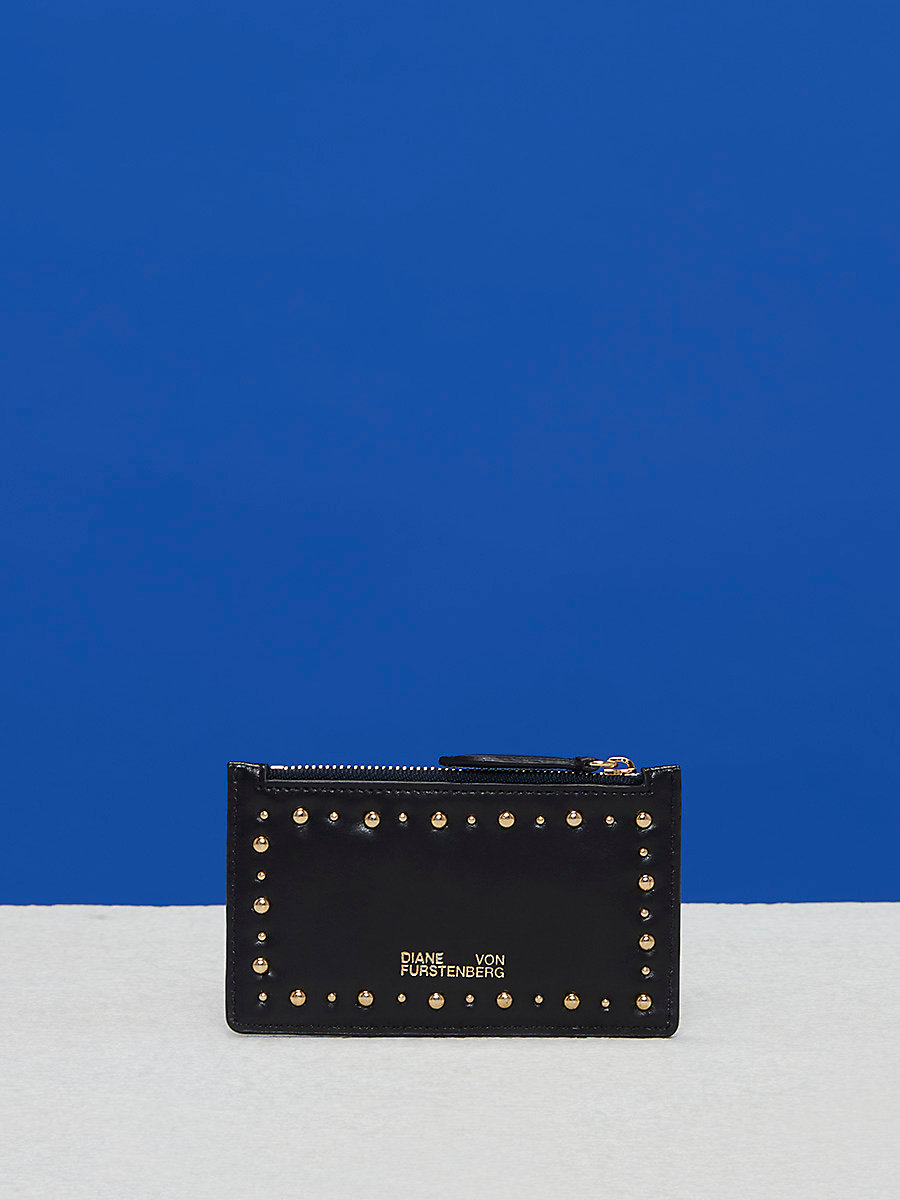 Zip Top Card Case in Black by DVF