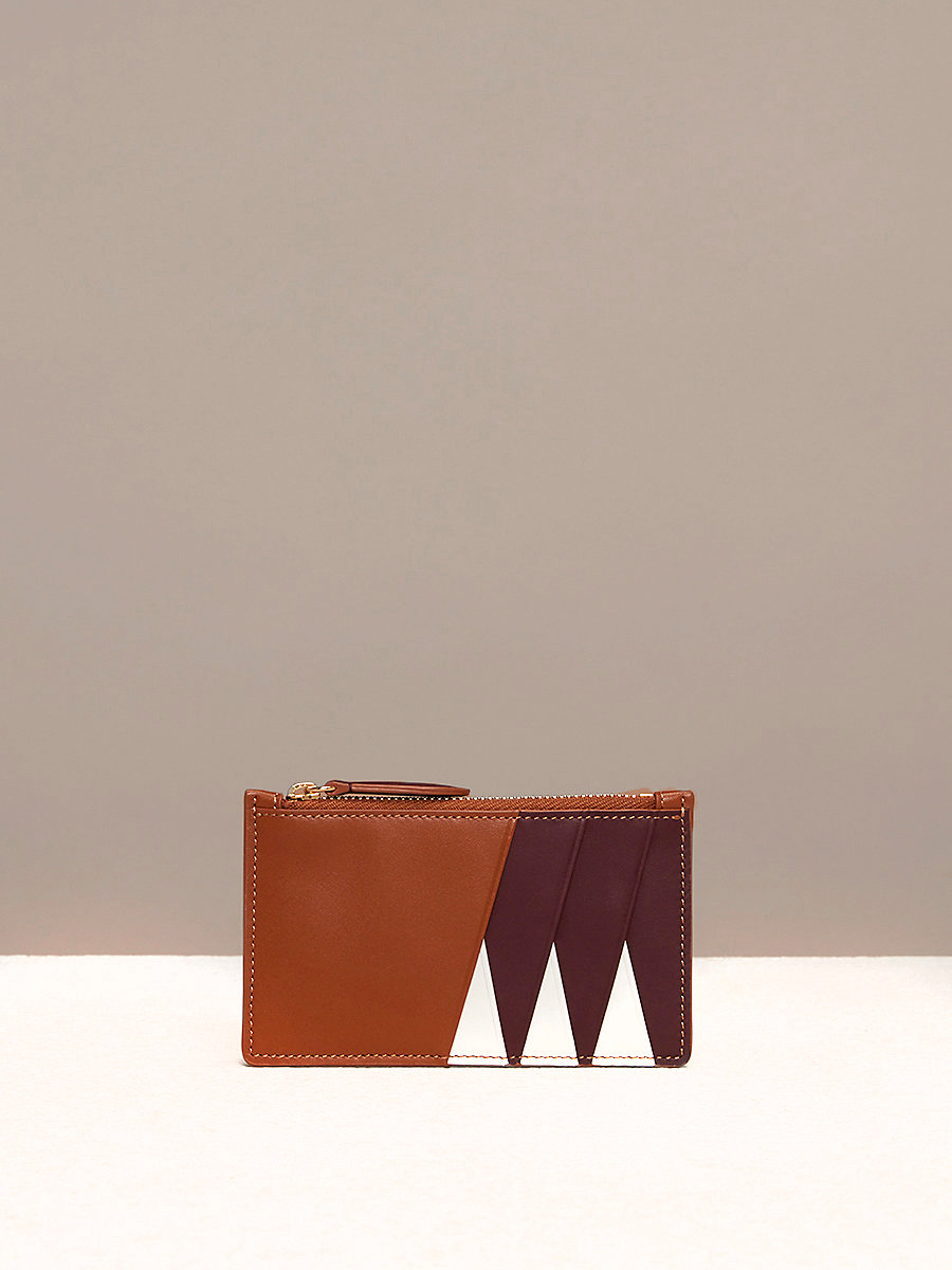 Zip Top Card Case in Ivory/ Bordeaux/ Kola by DVF