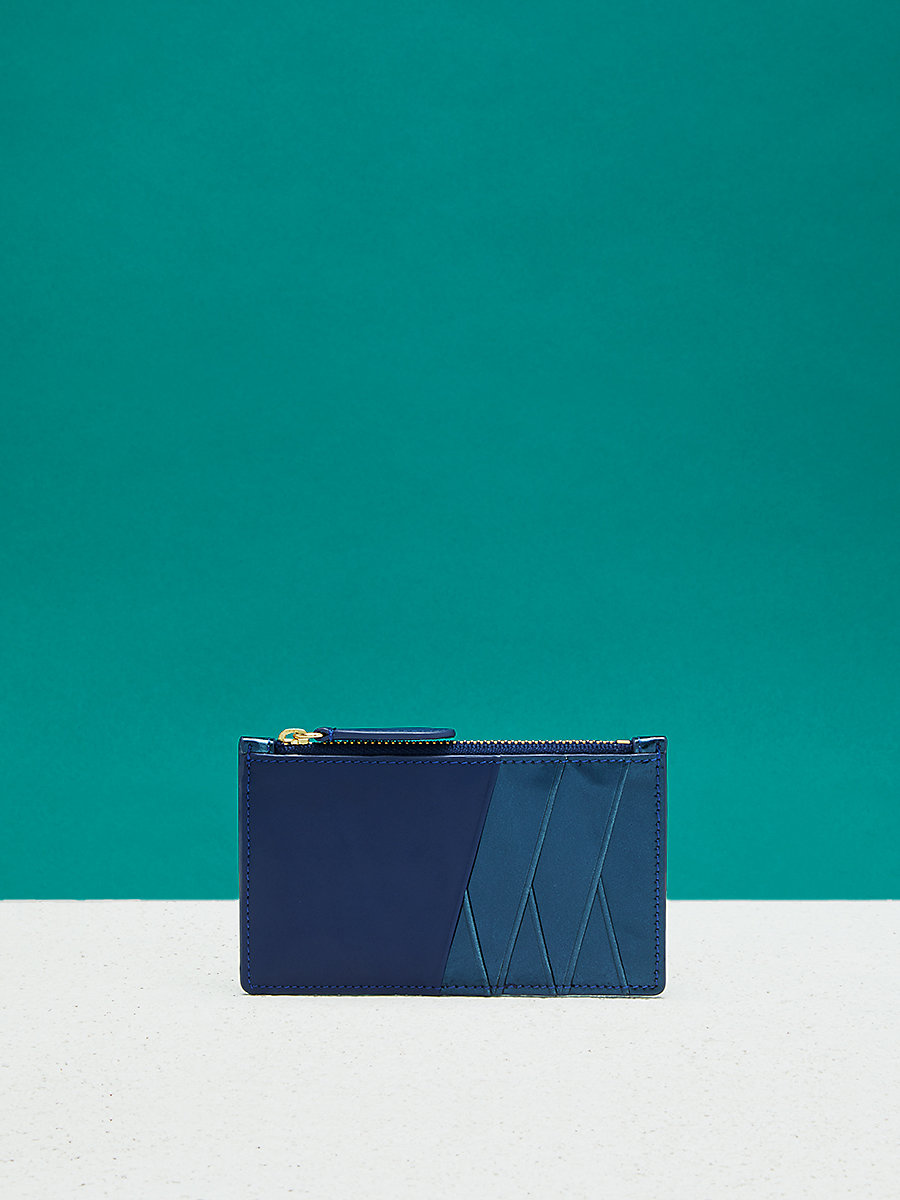 Zip Top Card Case  in Midnight/ Blue by DVF
