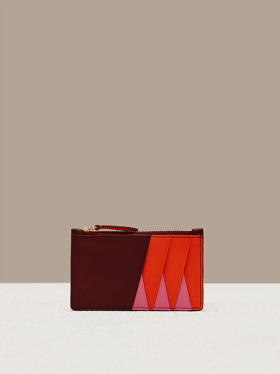 Zip Top Card Case in Orange/ Bordeaux/ Pink Azalea by DVF