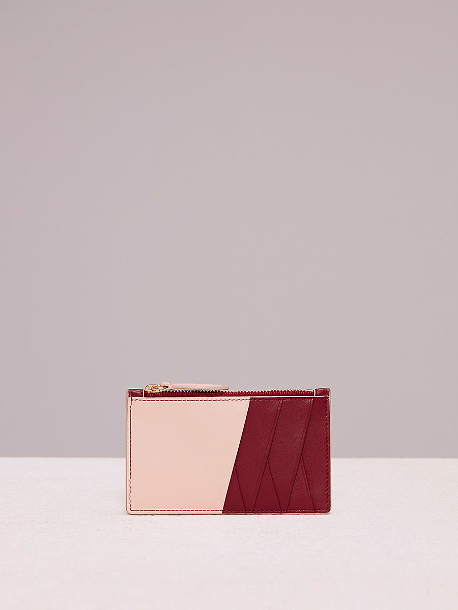 Zip Top Card Case in Red Wine/ Petal by DVF